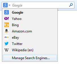 Picture of the Firefox 'Manage Engines' option, which is built into the standard Firefox Search Toolbar