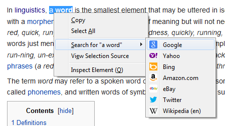 Picture of Context Search being used on Wikipedia to search for the term 'a word'