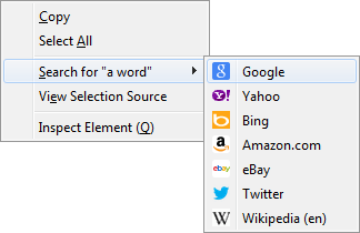 Picture of the Context Search menu