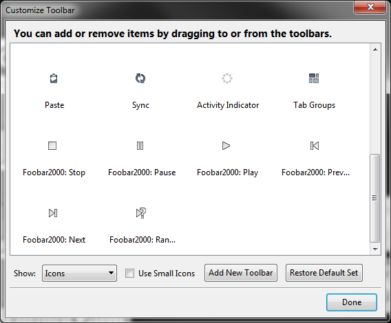 Picture of Foobar2000 buttons in the Firefox Toolbar customisation palette ready to be added to the toolbar