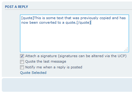 Picture of the quoted text in a web forum reply              box