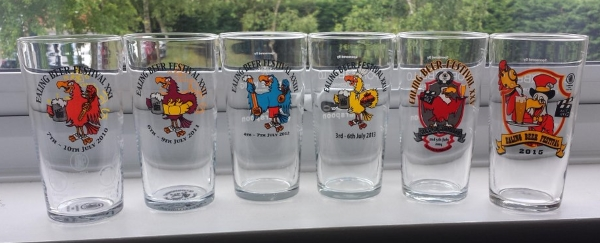 Ealing Beer Festival pint-to-line glasses from 2010 to 2015